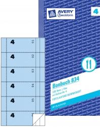 834 Bonbuch, Kompaktblock, mit Kellner-Nr., 2 x 50 Blatt, blau