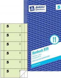 835 Bonbuch, Kompaktblock, mit Kellner-Nr., 2 x 50 Blatt, grün