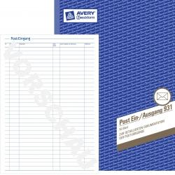 931 Post-Ein-/Ausgangsbuch - A4, beidseitig bedruckt, 50 Blatt, weiß