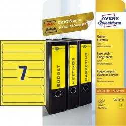 L4765-20 Ordner-Etiketten - schmal/kurz, (A4 - 20 Blatt) 140 Stück, gelb