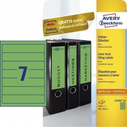 L4764-20 Ordner-Etiketten - schmal/kurz, (A4 - 20 Blatt) 140 Stück, grün