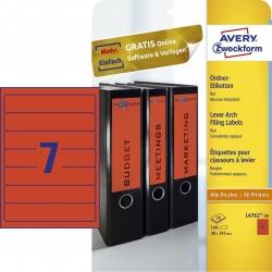 L4762-20 Ordner-Etiketten - schmal/kurz, (A4 - 20 Blatt) 140 Stück, rot
