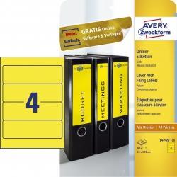 L4769-20 Ordner-Etiketten - breit/kurz, (A4 - 20 Blatt) 80 Stück, gelb