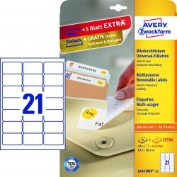 L6023REV-25 Universal-Etiketten - 63,5 x 38,1 mm, weiß, 630 Etiketten/30 Blatt, wiederablösbar