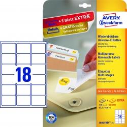 L6025REV-25 Universal-Etiketten, 63,5 x 46,6 mm, 30 Bogen/540 Etiketten, weiß