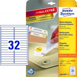 L6031REV-25 Universal-Etiketten, 96 x 16,9 mm, 30 Bogen/960 Etiketten, weiß