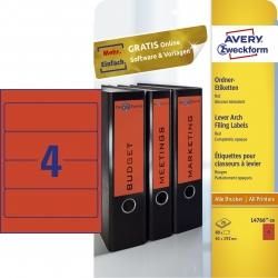 L4766-20 Ordner-Etiketten - breit/kurz, (A4 - 20 Blatt) 80 Stück, rot