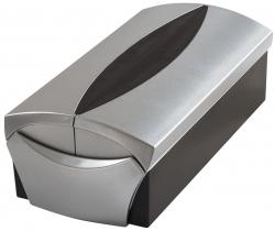 Visitenkartenbox VIP-Set Silber Edition - für 500 Visitenkarten, Box+Etui, silber-schwarz