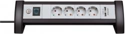 Steckdosenleiste mit USB Ladefunktion - 4-fach, schwarz/grau