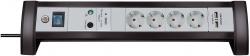 Steckdosenleiste mit USB Ladefunktion/Überspannungsschutz - 4-fach, schwarz/grau