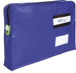 Posttasche mit T-2 Siegel System - PVC, 350 x 260 x 76 mm, blau, mit Reißverschluß