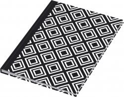 Notizbuch black&white rhombus - A5, Pünktchenlineatur, 96 Blatt
