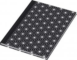 Notizbuch black&white stars - A5, Pünktchenlineatur, 96 Blatt
