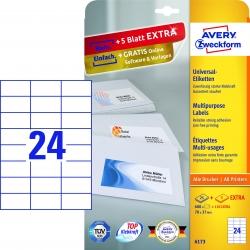 6173 Universal-Etiketten - 70 x 37 mm, weiß, 720 Etiketten/30 Blatt, permanent