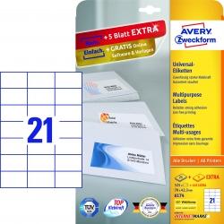 6174 Universal-Etiketten - 70 x 42,3 mm, weiß, 630 Etiketten/30 Blatt, permanent
