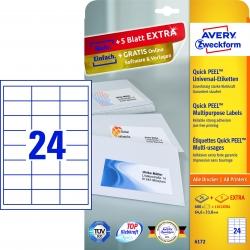 6172 Universal-Etiketten - 64,6 x 33,8 mm, weiß, 720 Etiketten/30 Blatt, permanent