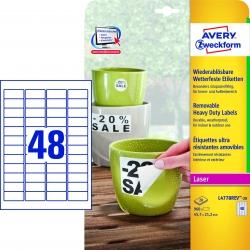 L4778REV-20 Wetterfeste Etiketten (A4, 960 Stück, ablösbar, 45,7 x 21,2 mm) 20 Blatt weiß