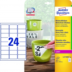 L4773REV-20 Wetterfeste Etiketten (A4, 480 Stück, ablösbar, 33,9 x 63,5 mm) 20 Blatt weiß