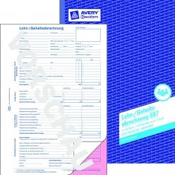 507 Lohn-/Gehaltsabrechnung, DIN A4, vorgelocht, 2 x 50 Blatt/10 Stück, weiß, rosa