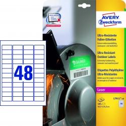 L7911-10 Ultra-Resistente Folien-Etiketten - A4, 480 Stück, 45,7 x 21,2 mm, 10 Blatt weiß