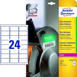 L7912-10 Ultra-Resistente Folien-Etiketten - A4, 240 Stück, 63,5 x 33,9 mm, 10 Blatt weiß