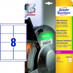 L7914-10 Ultra-Resistente Folien-Etiketten - A4, 80 Stück, 99,1 x 67,7 mm, 10 Blatt weiß