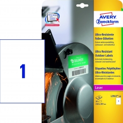 L7917-10 Ultra-Resistente Folien-Etiketten - A4, 10 Stück, 210 x 297 mm, 10 Blatt weiß