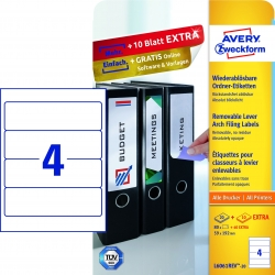 L6061REV-20 Ordner-Etiketten, 59 x 192 mm, breite Ordner (kurz), 30 Bogen/120 Etiketten, weiß