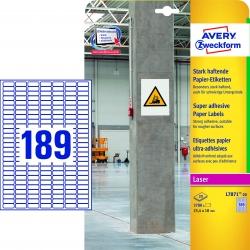 L7871-20 Papier-Etiketten - A4, 3.780 Stück, 25,4 x 10 mm, stark haftend, weiß