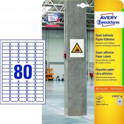 L7872-20 Papier-Etiketten - A4, 1.600 Stück, 35,6 x 16,9 mm, stark haftend, weiß
