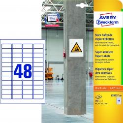 L7873-20 Papier-Etiketten - A4, 960 Stück, 45,7 x 21,2 mm, stark haftend, weiß