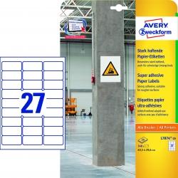 L7874-20 Papier-Etiketten - A4, 540 Stück, 63,5 x 29,6 mm, stark haftend, weiß