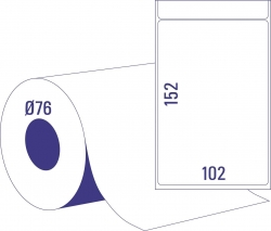 Thermoetikettrollen - 102 x 152 mm, permanent haftend, 1 Rolle =  750 Stück