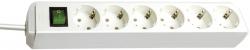 Steckdosenleiste - 6-fach mit Schalter, weiß