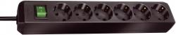 Steckdosenleiste - 6-fach mit Schalter, schwarz