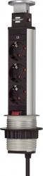 Tischsteckdosenleiste - 3-fach mit Schalter, alu/schwarz