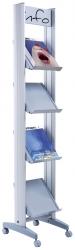 Alu-Prospektständer mit 4 Metall-Ablagen für 4 Dokumente