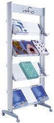 Alu-Prospektständer mit 4 Plexiglas-Ablagen ,12 Dokumente