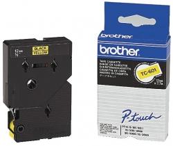 TC-601 Schriftbandkassetten, laminiert, 12 mm x 7,7 m, schwarz auf gelb