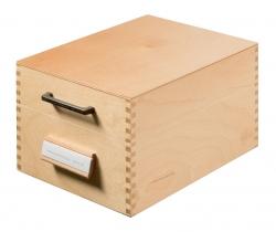 Karteikasten aus Holz DIN A6 quer, für max. 900 Karten, Holz natur