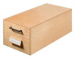 Karteikasten aus Holz DIN A6 quer, für max. 1500 Karten, Holz natur