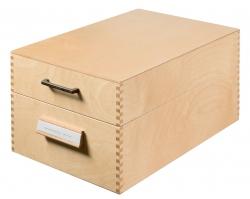 Karteikasten aus Holz DIN A5 quer, für max. 1500 Karten, Holz natur