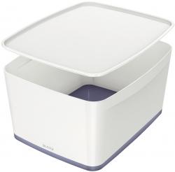 Aufbewahrungsbox MyBox Groß - A4, mit Deckel, ABS, weiß/grau