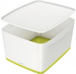 5216 Aufbewahrungsbox MyBox Groß - A4, mit Deckel, ABS, weiß/grün