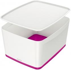 Aufbewahrungsbox MyBox Groß - A4, mit Deckel, ABS, weiß/pink