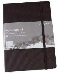 Notizbuch - A5, kariert, 192 Seiten, schwarz
