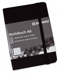 Notizbuch - A6, kariert, 192 Seiten, schwarz