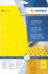 8034 Signal-Etiketten strapazierfähig A4 Ø 30 mm rund gelb stark haftend Folie matt wetterfest 1200 St.