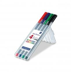 Feinschreiber triplus® - 0,3 mm, Aufstellbox, 4 Farben