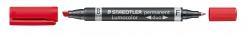 Permanentmarker Lumocolor® duo - nachfüllbar, 0,6 mm und 1,5 mm, rot